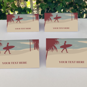 Editable SurfingThemed Place Cards for Birthday Party