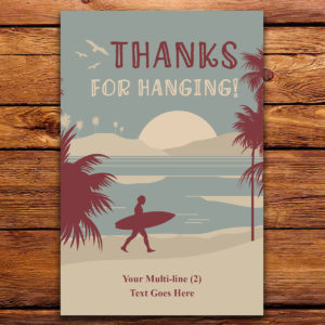 Surfing THemed Thank you card for Birthday Party