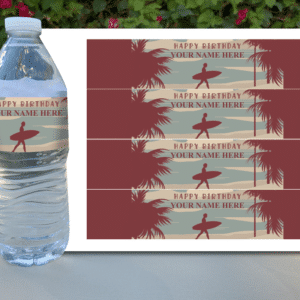 Surfing Themed Water Bottle Labels for Birthday Party